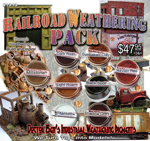 Doctor Ben's 8-COLOR Railroad Pigment Weathering Pack-CLICK for larger image!